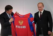 Владимир Путин и президент IIHF Рене Фазель
