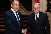 Министр иностранных дел РФ Сергей Лавров и министр иностранных дел Франции Жан-Марк Эйро