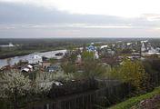 Вид на город Гороховец с колокольни свято-троицкого Никольского монастыря