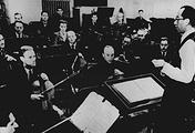 Дирижер Карл Элиасберг на репетиции Седьмой симфонии Дмитрия Шостаковича, 1942 год