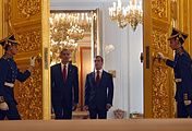 Президент РФ Дмитрий Медведев и президент США Барак Обама в Кремле, 2009 год