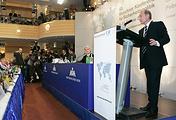Президент России Владимир Путин во время выступления на 43-й Мюнхенской конференции по вопросам политики безопасности, 2007 год