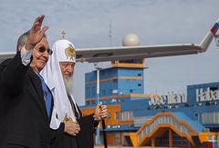Патриарх Московский и всея Руси Кирилл и председатель Госсовета и Совета Министров Республики Куба Рауль Кастро