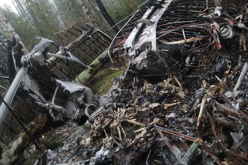 Обломки самолета Ан-2 на месте крушения недалеко от города Серова