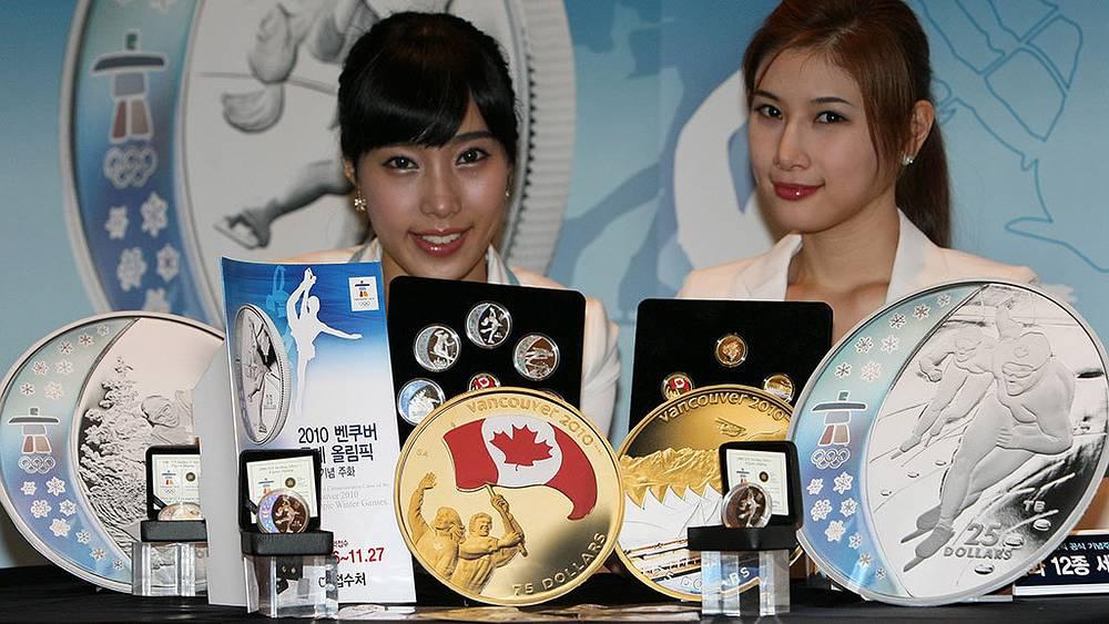 Презентация памятных монет, выпущенная Королевским монетным двором Канады к зимним Олимпийским играм 2010 в Ванкувере. Фото EPA/STF