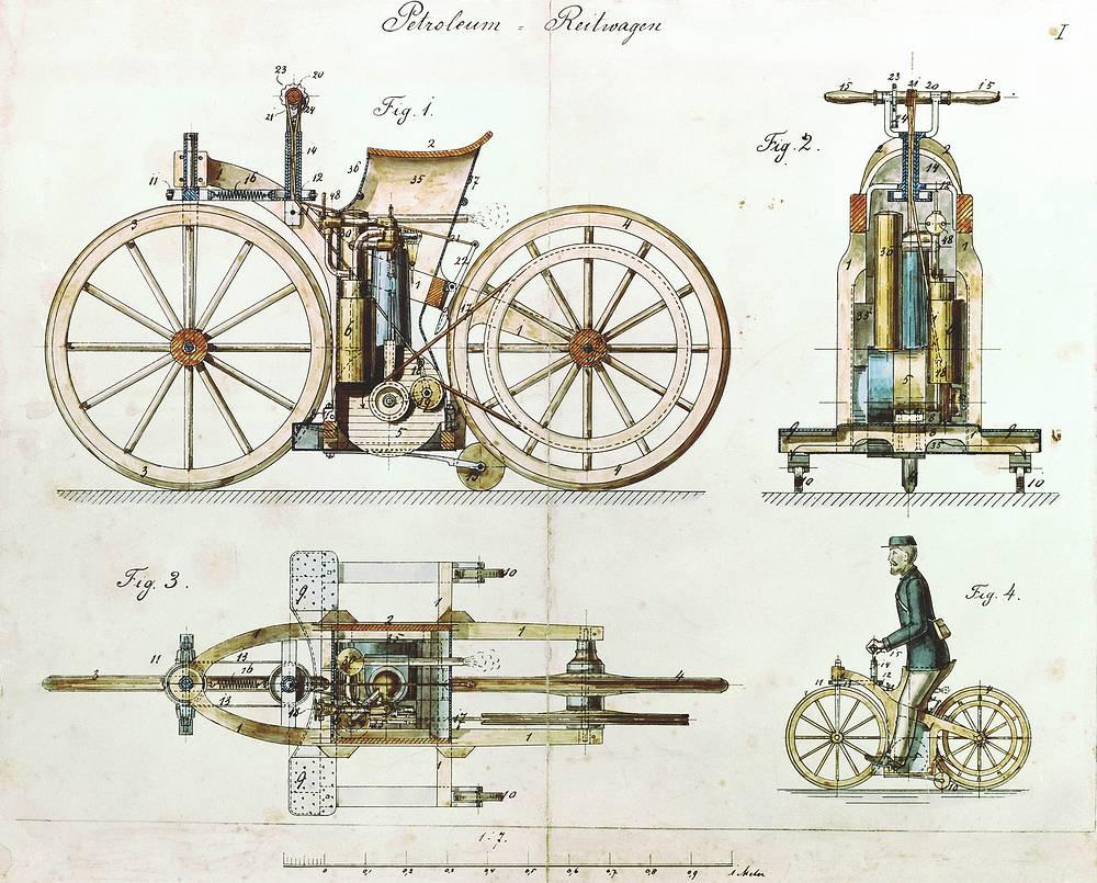 Макет первого мотоцикла Daimler Reitwagen