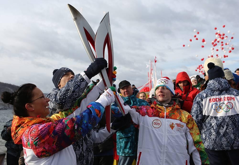 Эстафета огня XXII Олимпийских игр на Байкале