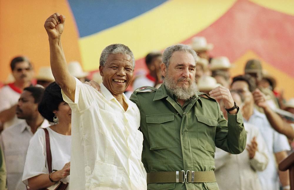 Нельсон Мандела и Фидель Кастро, 1991 г.