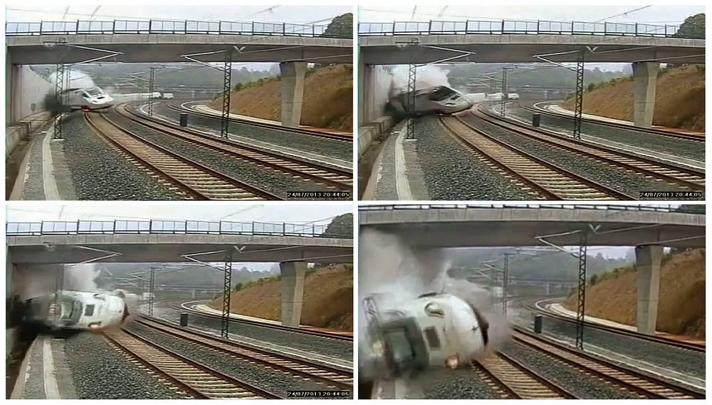 Пассажирский поезд в Испании не вписался в поворот и на полной скорости сошел с рельсов