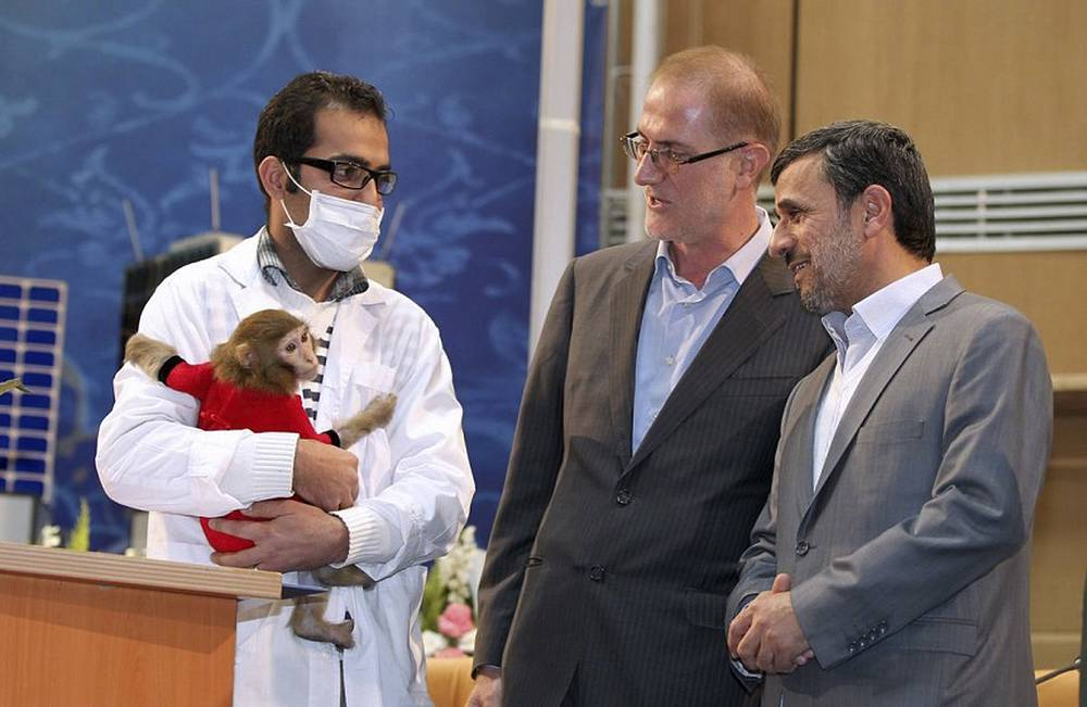 """Президент Махмуд Ахмадинежад смотрит на обезьяну по кличке Фаргам, совершившую полет на ракете-носителе """"Паджонеш"""" в космос"""