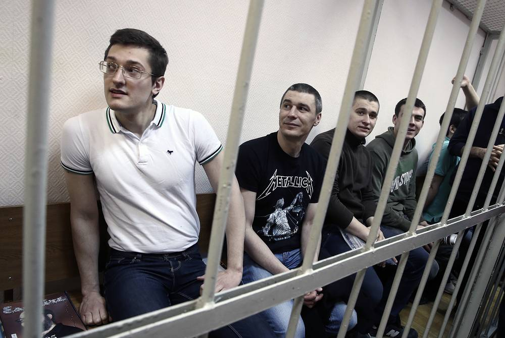 Ярослав Белоусов, Артем Савелов, Алексей Полихович и Денис Луцкевич, обвиняемые по делу о массовых беспорядках на Болотной площади 6 мая 2012 года