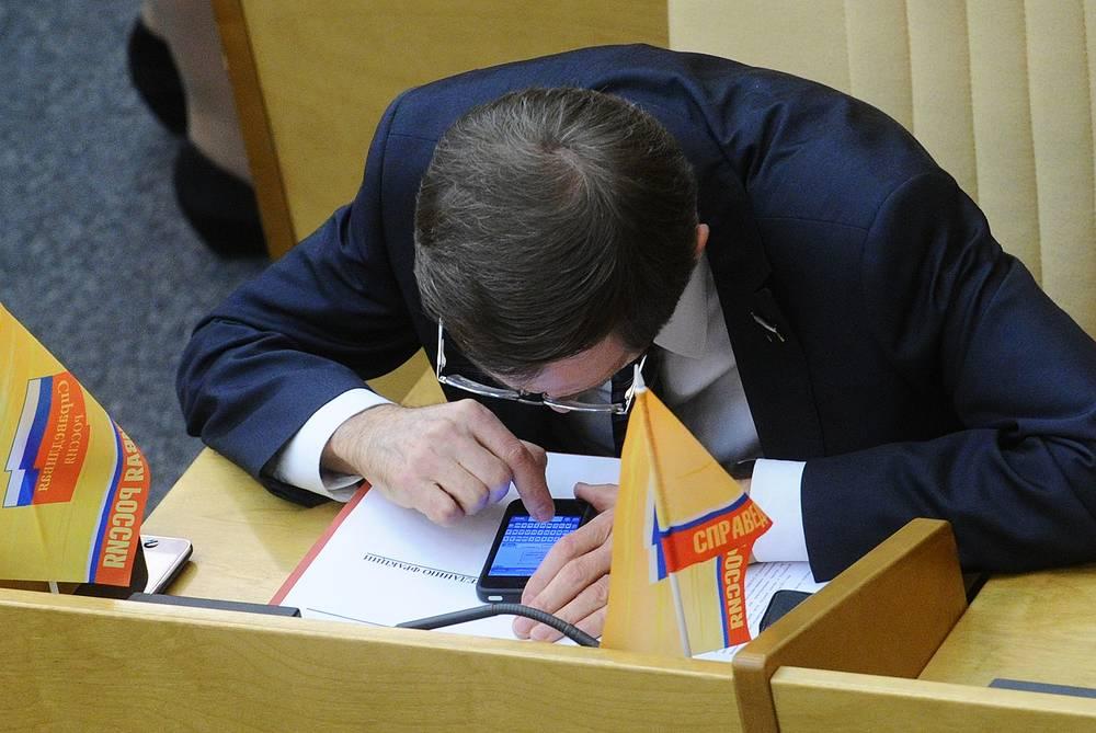 Депутат Николай Левичев на заседании Госдумы