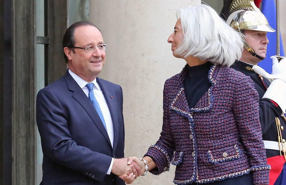 Франсуа Олланд с главой МВФ Кристин Лагард в Елисейском дворце