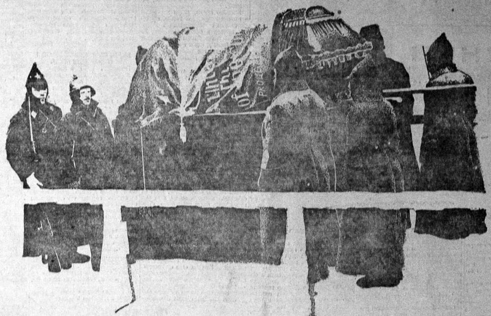 """Гроб с телом Владимира Ленина, рисунок из газеты """"Правда"""", 30 января 1924"""