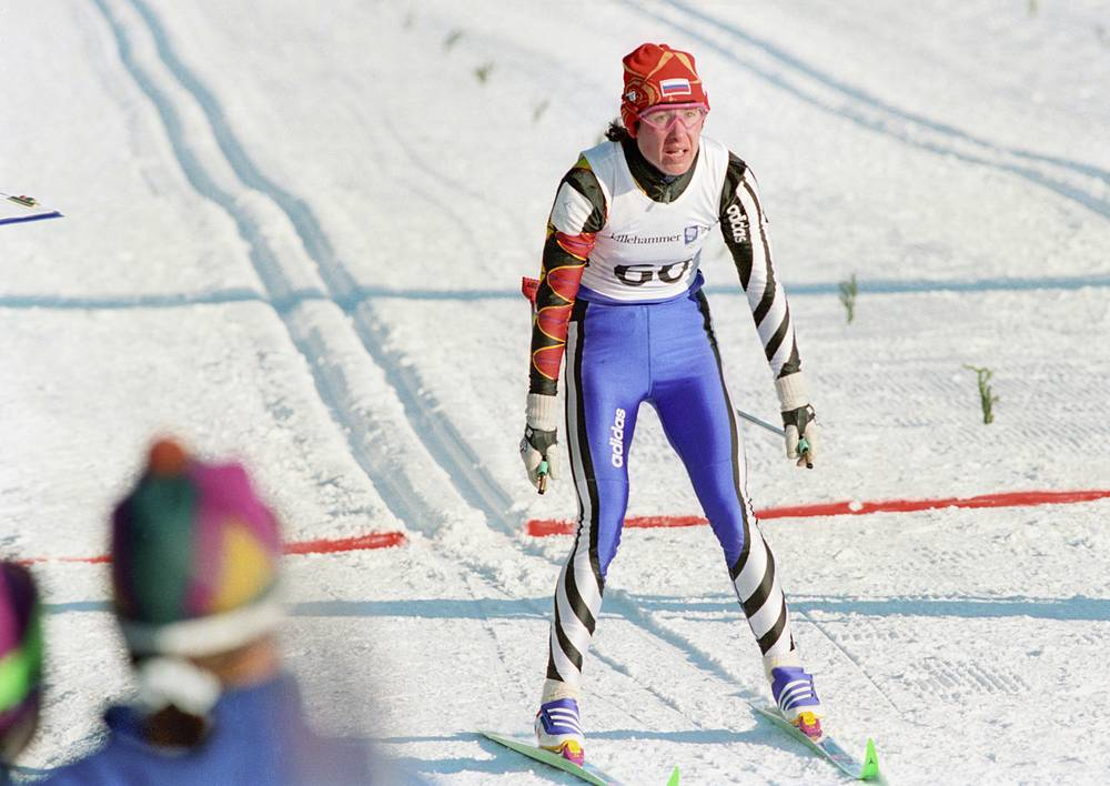 Любовь Егорова на финише в лыжной гонке на 5 км.ХVII зимние Олимпийские игры. Лиллихаммер.Норвегия.1994 г.