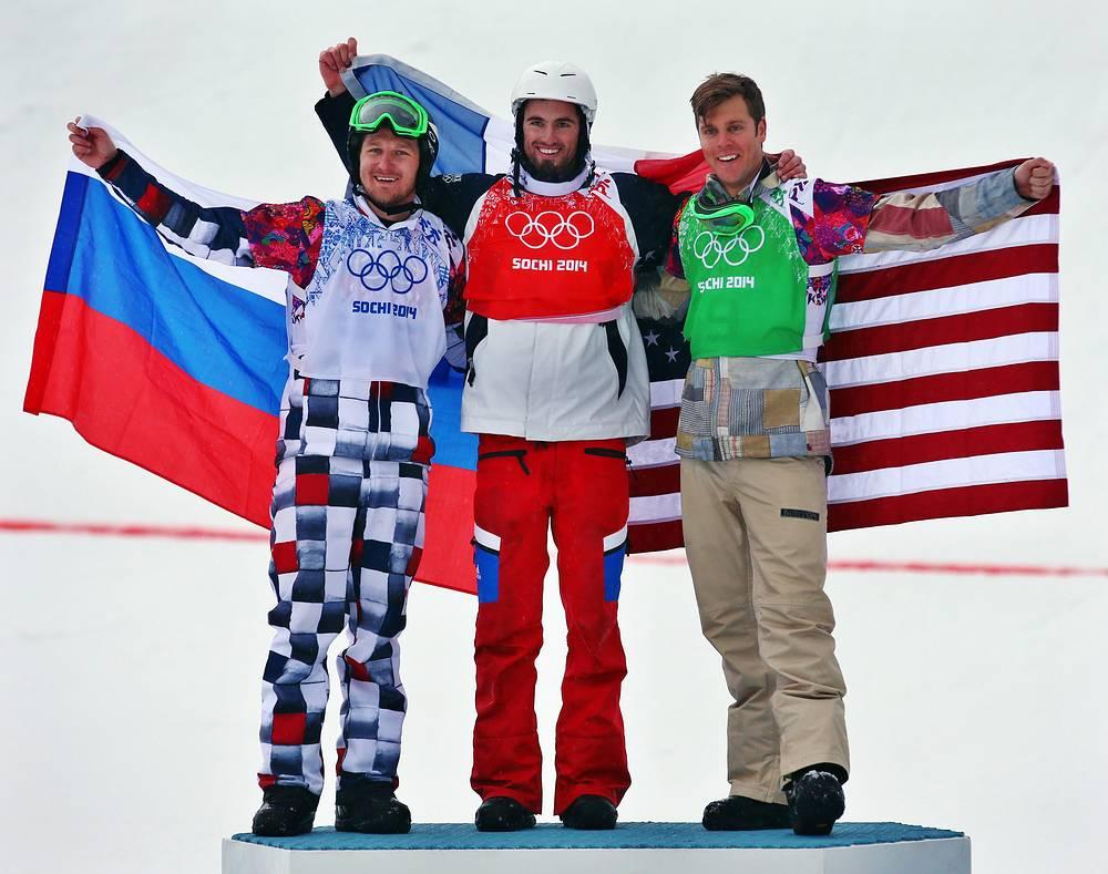 Российский спортсмен Николай Олюнин (серебро), французский спортсмен Пьер Вольтье (золото) и американский спортсмен Алекс Диболд (бронза) (слева направо)