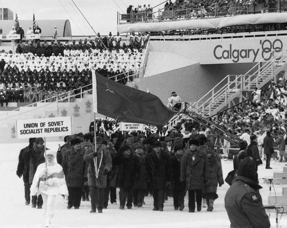 Церемония открытия в Калгари, Канада, 1988 год. XV зимние Олимпийские игры проходили с 13 по 28 февраля