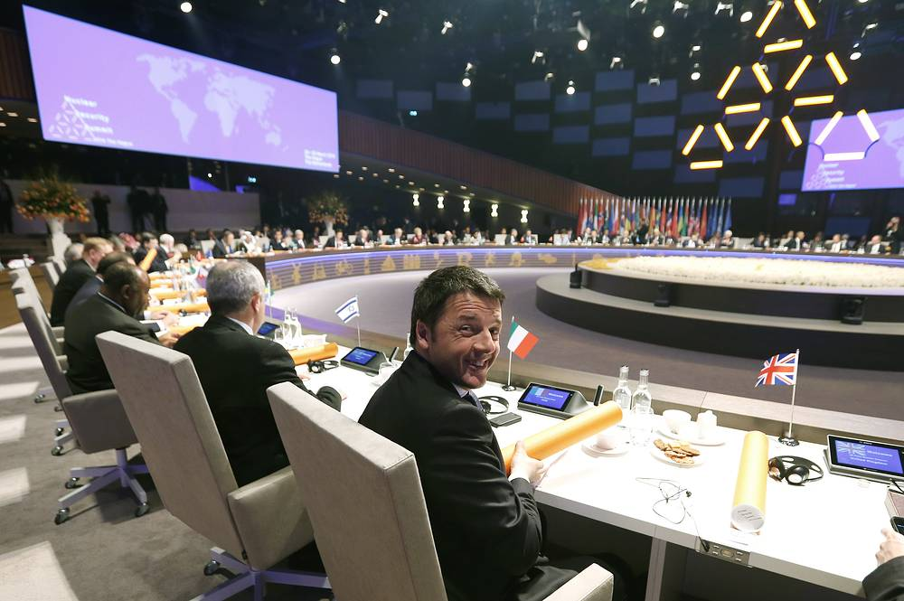 Премьер-министр Италии Маттео Рензи. Саммит по ядерной безопасности в Гааге. 24 Марта 2014 года