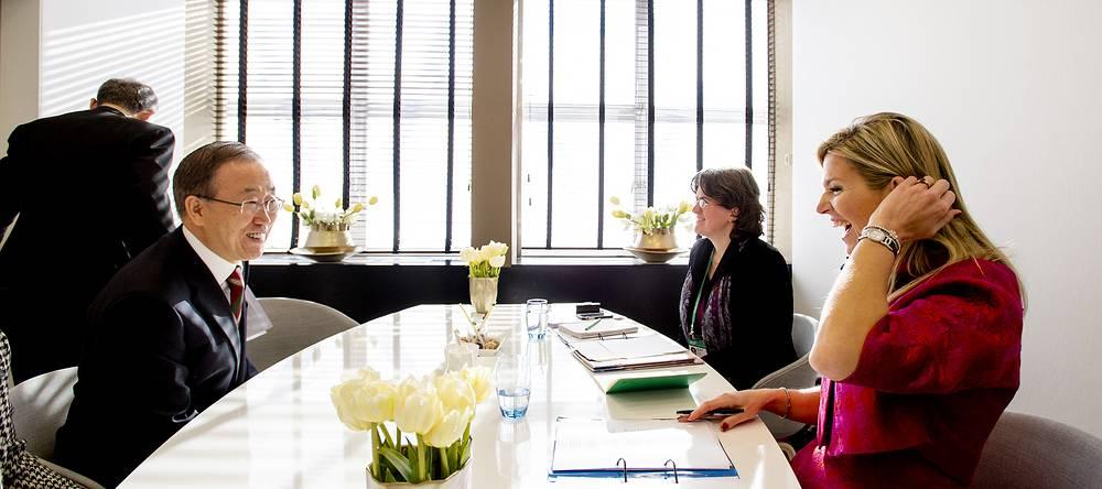 Генереальный секретарь ООН Пан Ги Мун и королева Нидерландов Максима