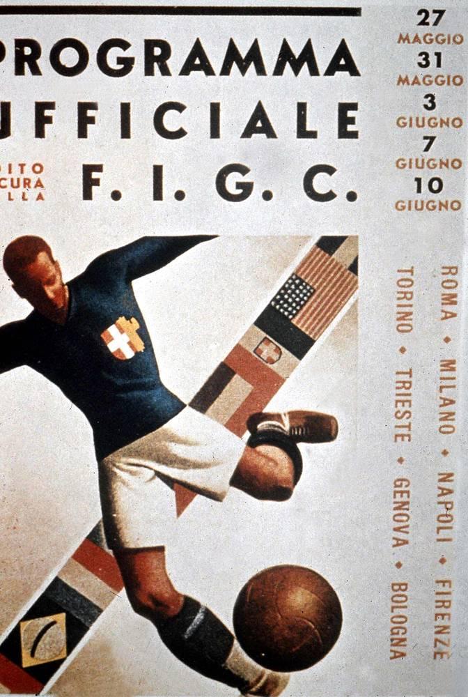 Плакат ЧМ-1934. Мировое первенство, прошедшее в Италии, выиграла команда с Апеннинского полуострова, победившая чехословаков - 2:1