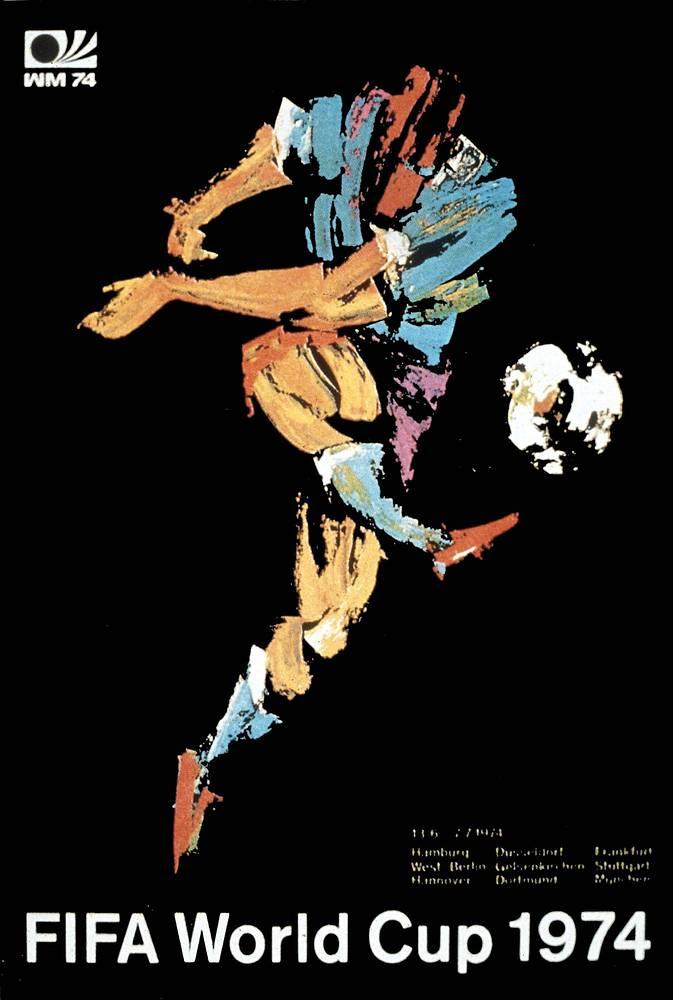 Плакат ЧМ-1974 в ФРГ. Хозяева турнира в решающем матче обыграли сборную Нидерландов - 2:1
