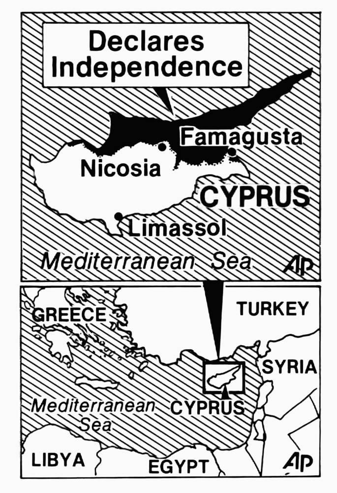13 февраля 1975 года руководство турецкой общины в одностороннем порядке провозгласило так называемое Турецкое федеративное государство Кипр, а 15 ноября 1983 года - Турецкую республику Северного Кипра, которая до сих пор признана только Анкарой