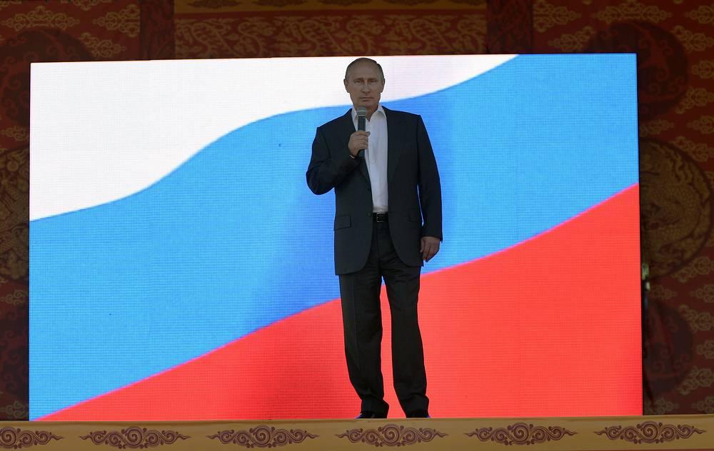 Президент РФ Владимир Путин на торжественном мероприятии, посвященном 100-летию вхождения Тувы в состав России