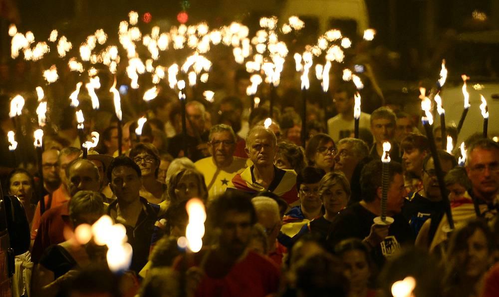 10 сентября в Барселоне также состоялись мероприятия в поддержку опроса о суверенитете