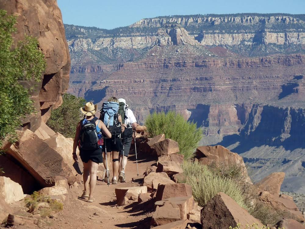 Пеший туризм. Его приверженцы готовы проходить длинные дистанции пешком. Цель такого отдыха - преодоление препятствий, ознакомление с природой. На фото: туристы в национальном парке Гранд-Каньон в США