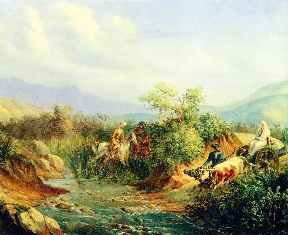 """""""Нападение. Сцена из кавказской жизни"""" (масло, 1837)"""