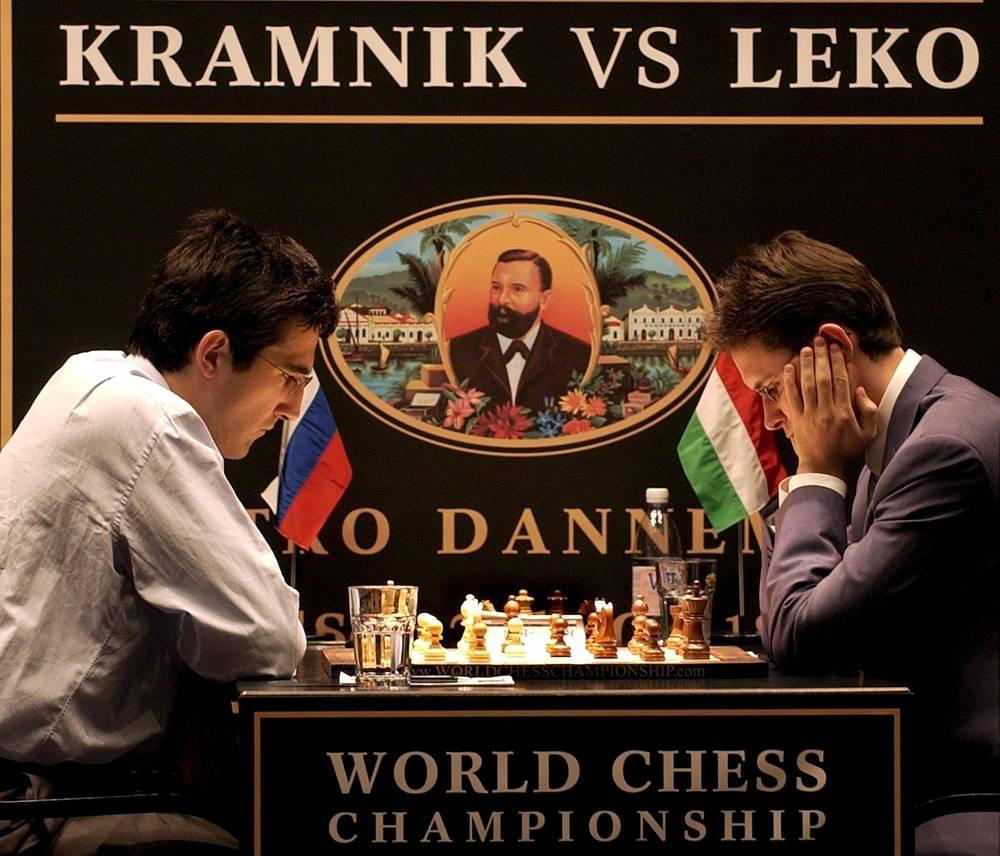 14-й чемпион мира Владимир Крамник в матче против венгра Петера Леко. В 2006 году в объединительном матче обыграл чемпиона мира по версии ФИДЕ болгарина Веселина Топалова. В 2000 году стал чемпионом мира по версии ПША, обыграв Каспарова