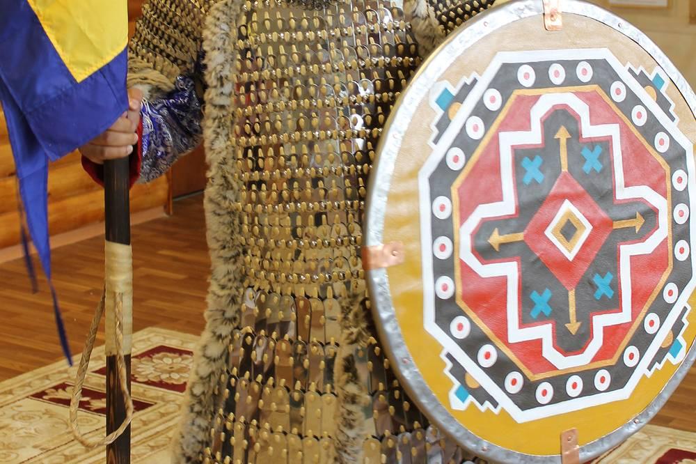 Реконструкция щита древнетюркского воина