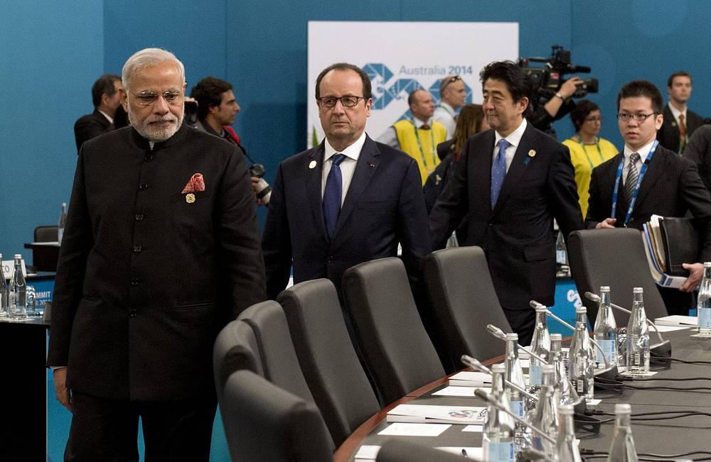 Премьер-министр Индии Нарендра Моди, президент Франции Франсуа Олланд и премьер-министр Японии Синдзо Абэ на пленарном заседании
