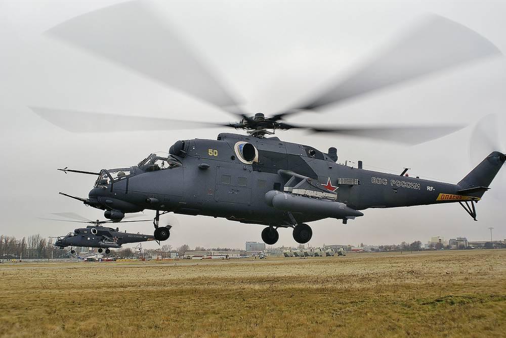 Многоцелевой ударный вертолет Ми-35М является глубокой модернизацией вертолета Ми-24В. Вертолет Ми-35М обеспечивает применение управляемого и неуправляемого вооружения вертолета в простых и ограниченно сложных метеоусловиях, выполнение полета на высотах 10-25 м днем и не менее 50 м ночью над поверхностью земли с выходом на цель. Многоцелевой ударный вертолет Ми-35М, 2012 год