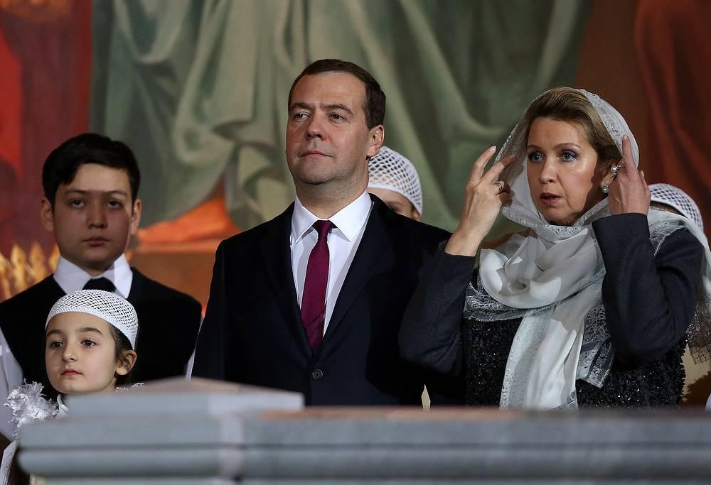 Дмитрий и Светлана Медведевы на богослужении в Москве, Россия