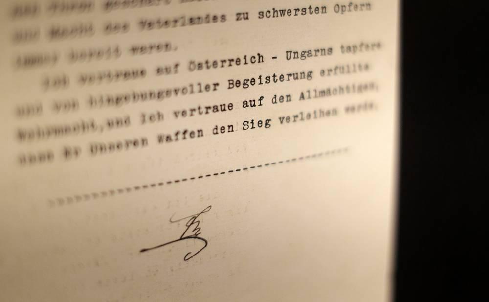 Подпись императора Австро-Венгрии Франца Иосифа под манифестом по случаю объявления войны Сербии, с которого началась Первая мировая война