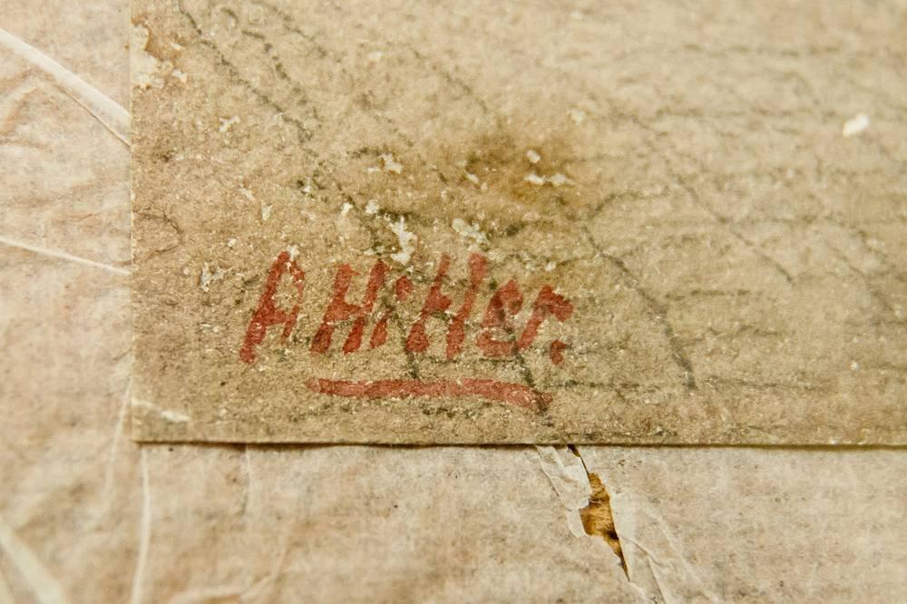 Автограф Адольфа Гитлера под одной из его акварелей