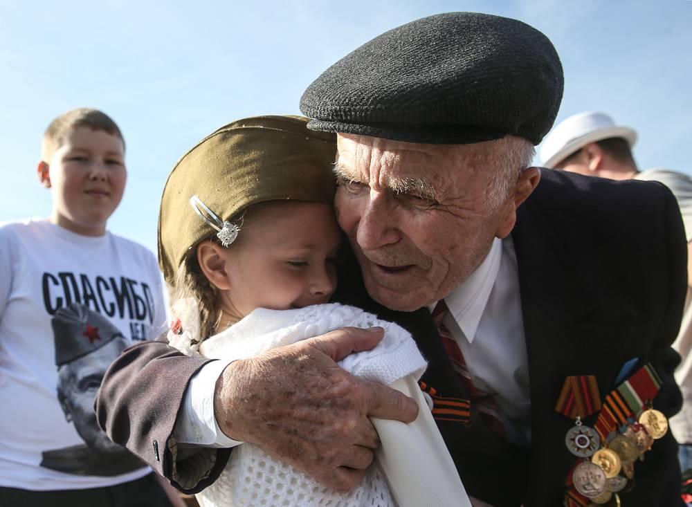 Ветеран Великой Отечественной войны Иван Бакаушин во время празднования 70-й годовщины Победы в Великой Отечественной войне в Москве
