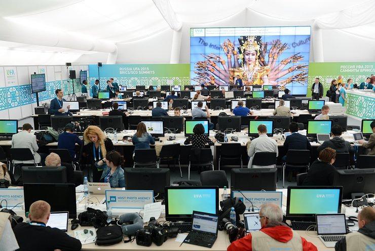 Журналисты на открытии Международного пресс-центра в Уфе