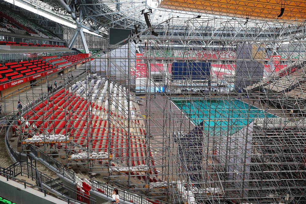 Первый футбольный матч состоялся на стадионе 17 августа 2014 года. Вскоре после этого объект был закрыт на подготовку к чемпионату мира по водным видам спорта, который пройдет в городе с 24 июля по 9 августа 2015 года