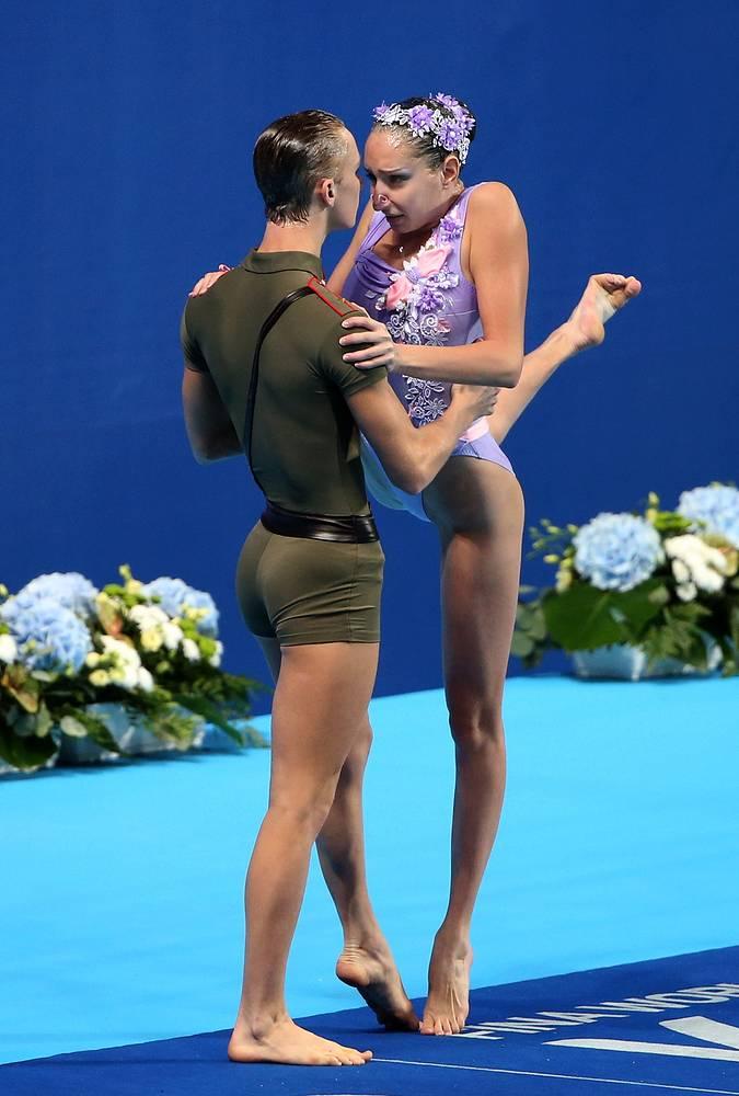 Россияне Дарина Валитова и Александр Мальцев во время выступления с технической программой в финале соревнований