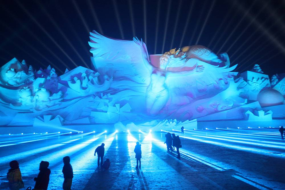 Световое шоу на фестивале льда и снега в Харбине