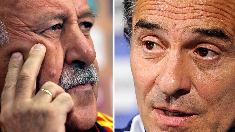 Главный тренер сборной Испании Висенте дель Боске и наставник итальянцев Чезаре Пранделли