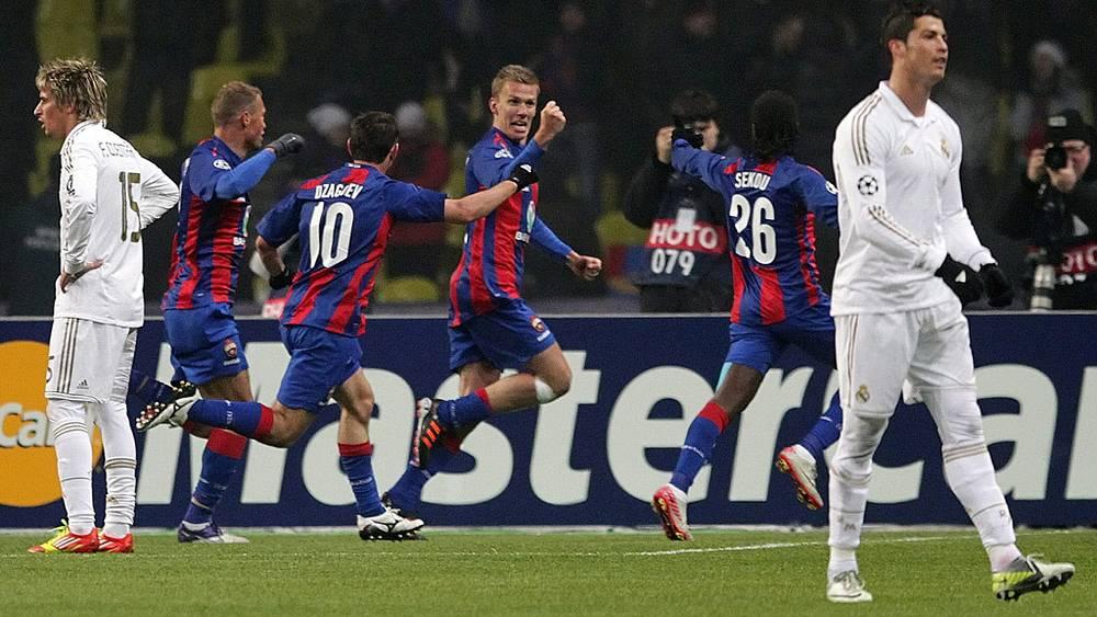 Игроки ЦСКА после гола в ворота соперников