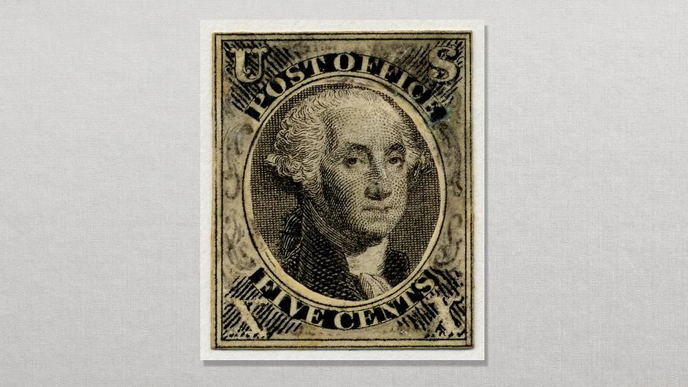Первая американская марка. 1847. Фото Smithsonian National Posta Museum