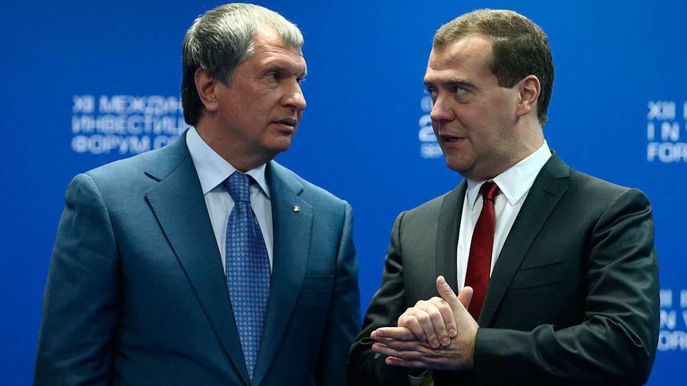 Игорь Сечин и Дмитрий Медведев. Фото ИТАР-ТАСС/ Станислав Красильников