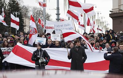 Белорусская оппозиция второй день в центре Минска протестует против интеграции с Россией