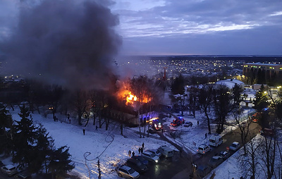 В центре Курска горит кафе