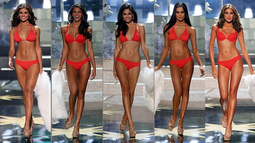 Мисс Эквадор, Мисс Бразилия, Мисс Испания, Мисс Филиппины, Мисс Венесуэла. EPA/SERGEI ILNITSKY