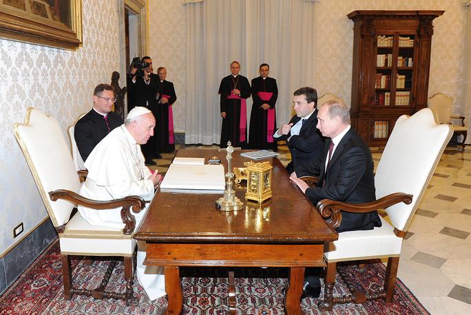 Папа римский Франциск и президент России Владимир Путин